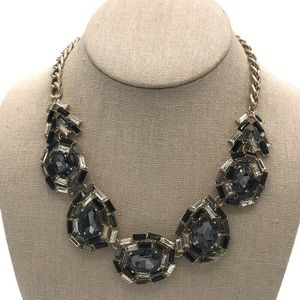 Black & Clear Baguette & Faceted Crystal Necklace
